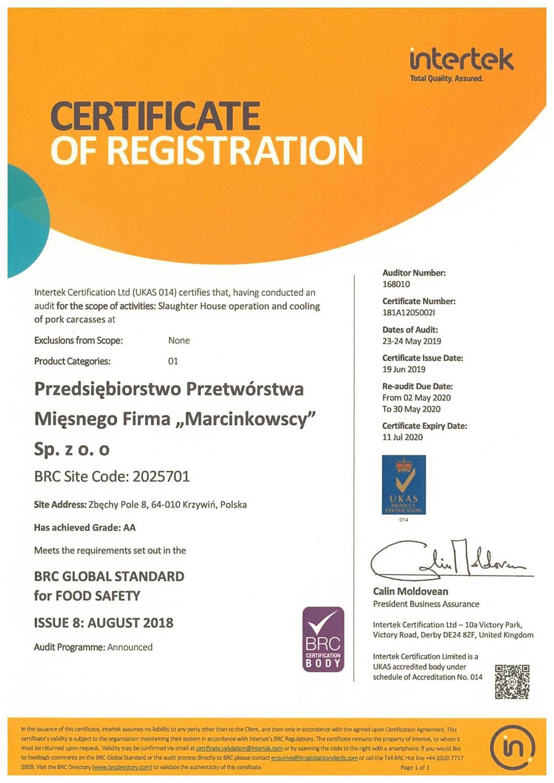 Certyfikat - Firma Marcinkowscy Sp. z o.o.